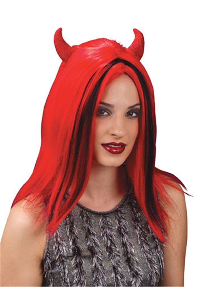 Picture of Devil Wig with Red Horns