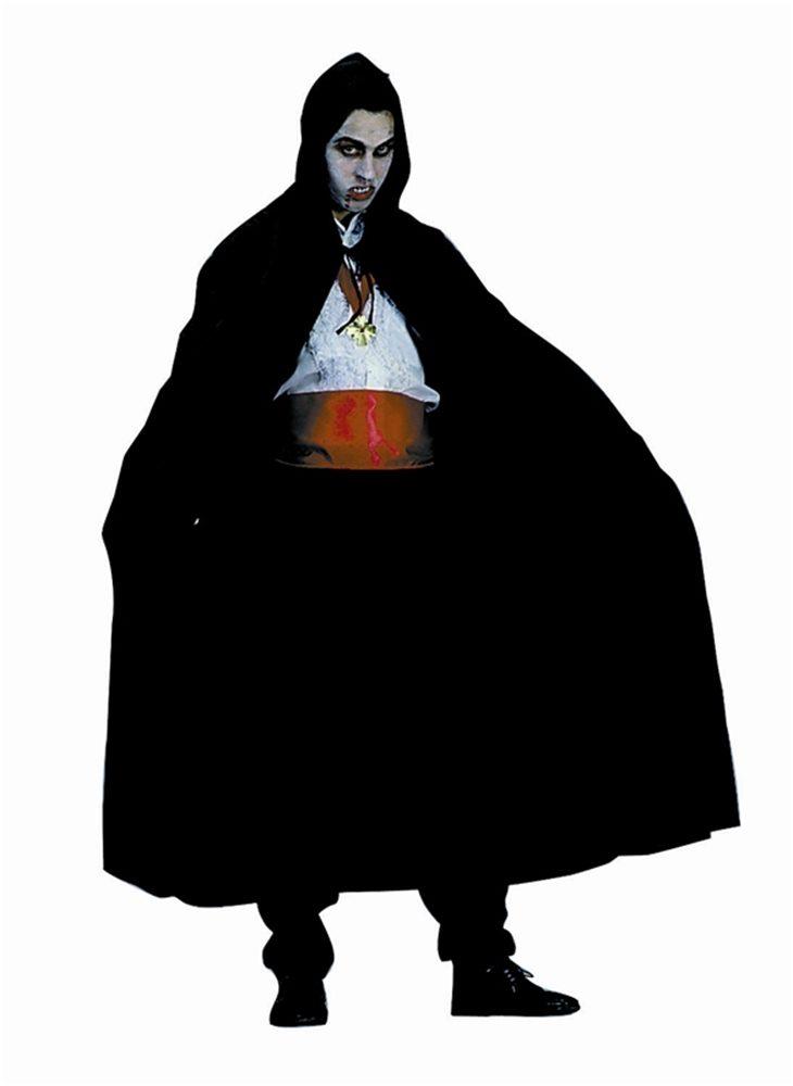 Picture of Full Length Nylon Hooded Black Cape 56in