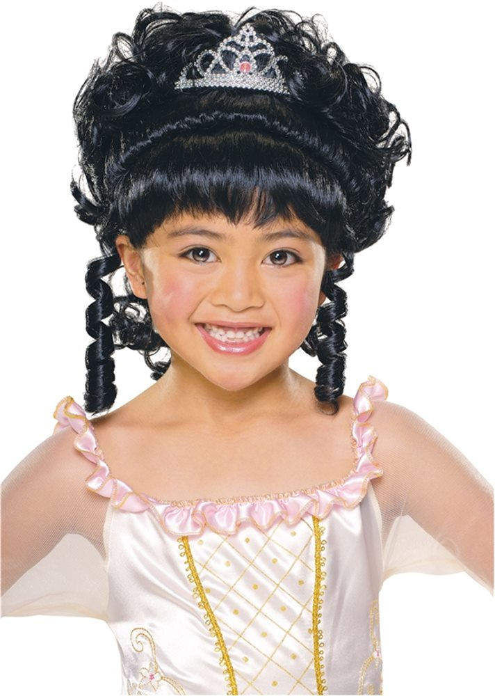 Picture of Princess Black Wig With Tiara Child