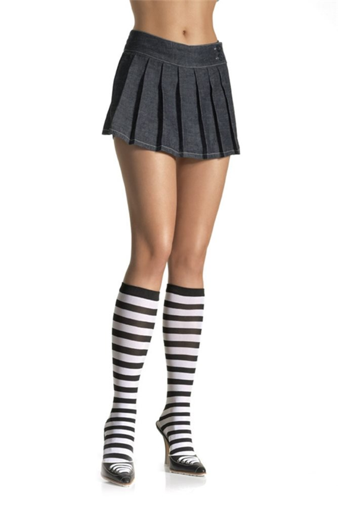 Picture of Black and White Striped Knee Highs