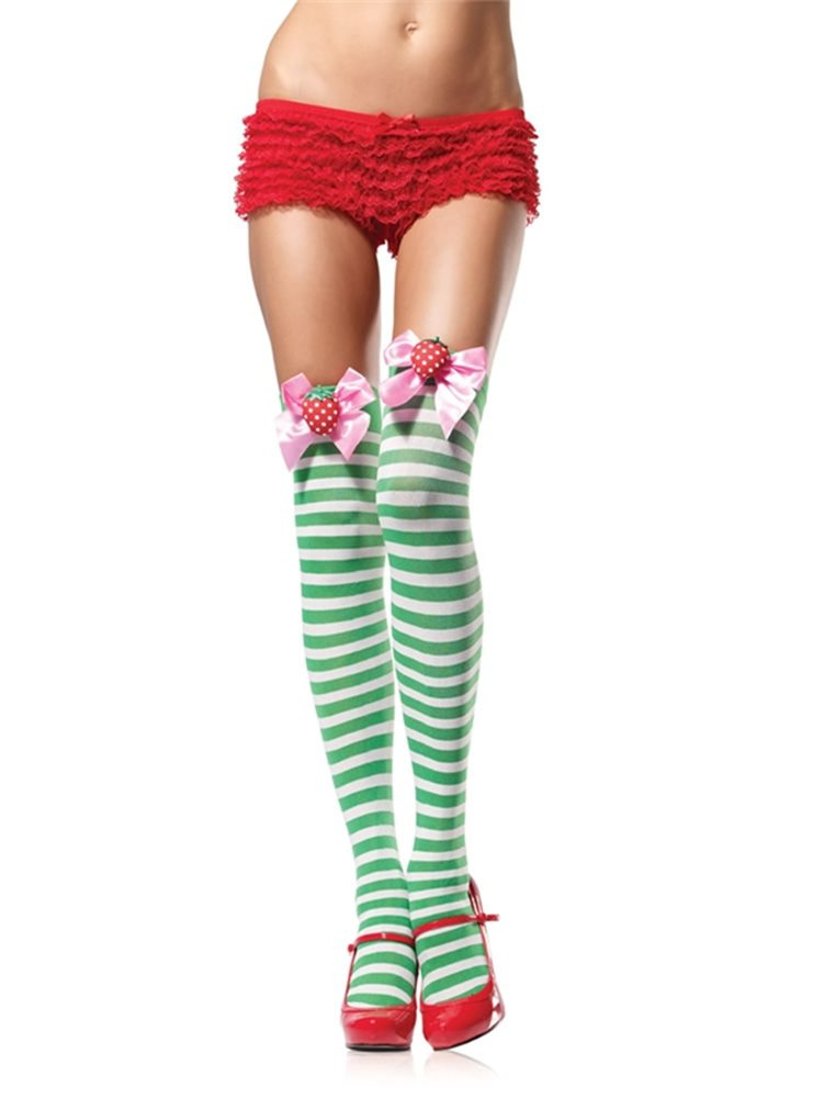 Picture of Green & White Striped Thigh Highs