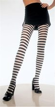 Picture of Plus Size Black and White Striped Tights