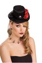 Picture of Gothic Black Mini Hat with Skull and Flowers
