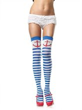 Picture of Striped Thigh Highs Anchor Blue and White