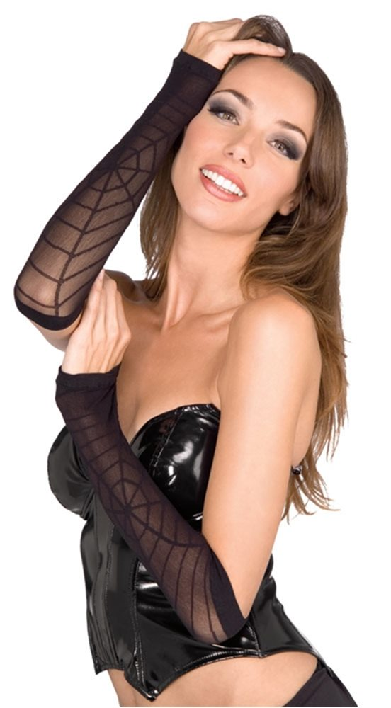 Picture of Black Sheer Spider Web Arm Warmers