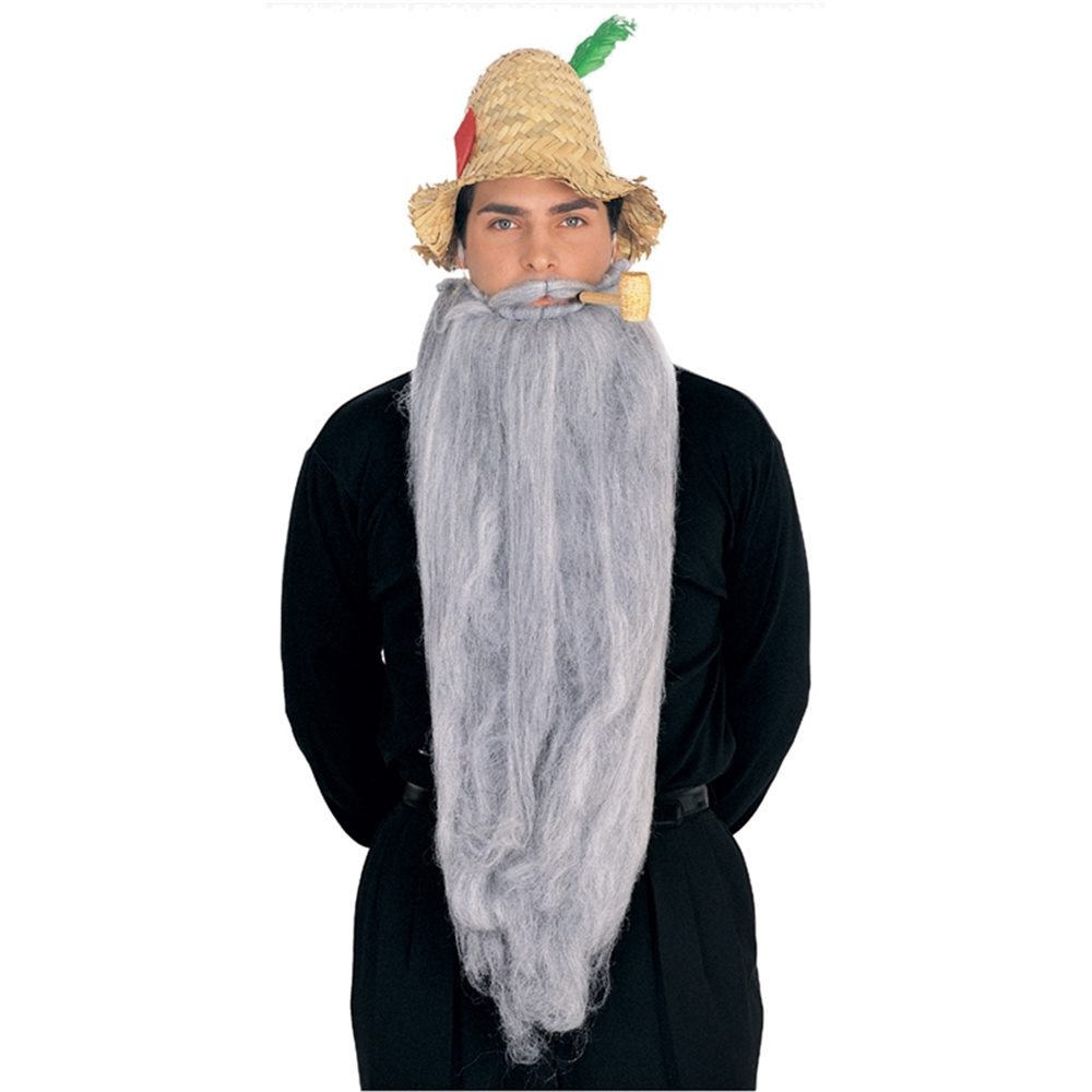 Picture of 25 Inch Long Grey Moustache and Beard Set
