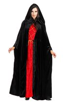 Picture of Black Hooded Panne Cloak