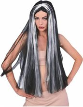 Picture of Long Black Vampire Wig with Grey Streaks