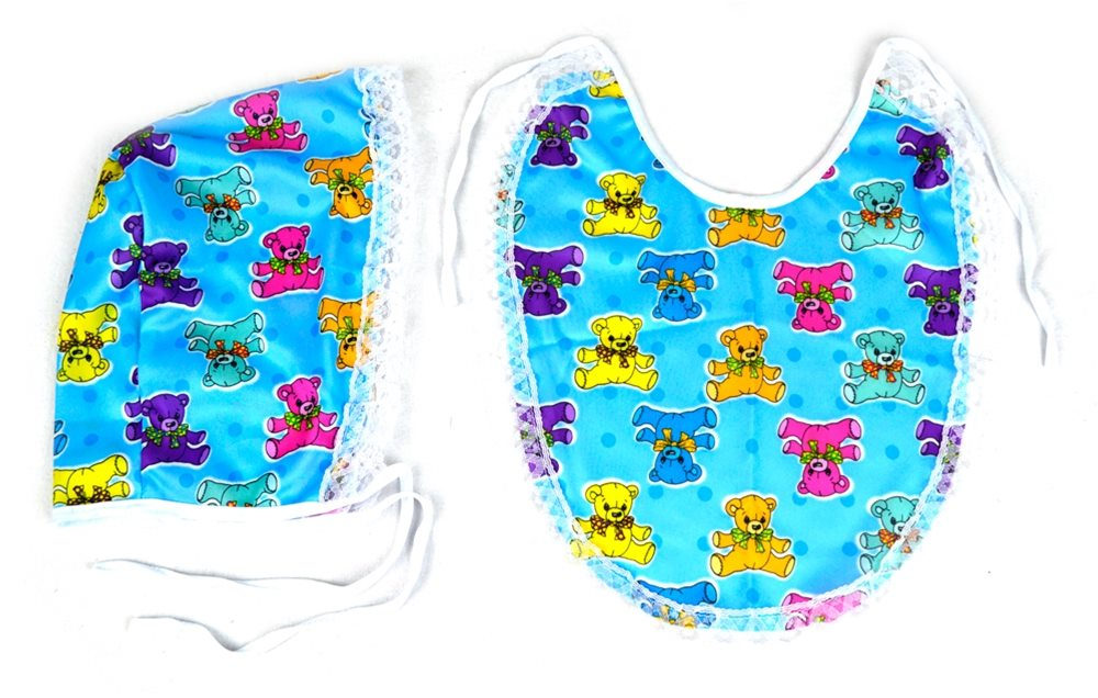 Picture of Blue Baby Bib and Bonnet Kit