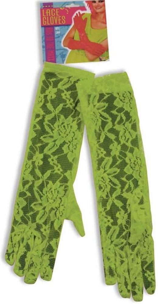 Picture of 80s Totally Lace Neon Green Gloves
