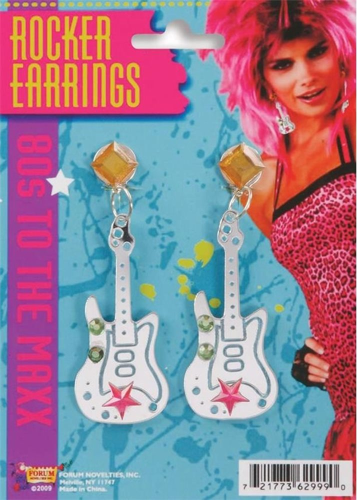 Picture of Hot Pink Glitter Guitar Earrings