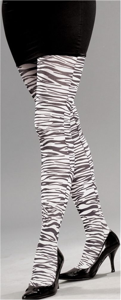 Picture of 80s White Zebra Print Pantyhose