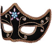 Picture of Deluxe Black Mardi Gras Adult Mask