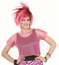 Picture of 80s Neon Pink Mesh Adult Top
