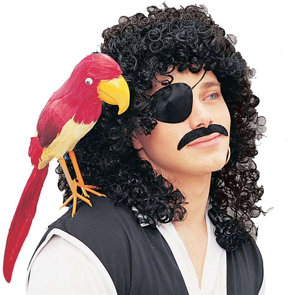 Picture of Black Curly Pirate Adult Wig