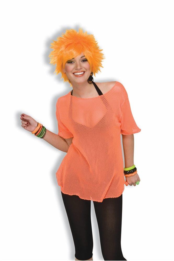 Picture of 80s Neon Orange Mesh Adult Top