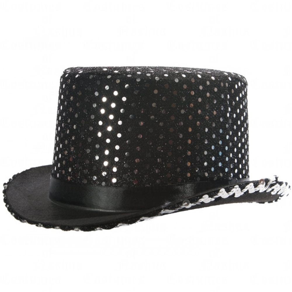 Picture of Black & Silver Sequin Top Hat