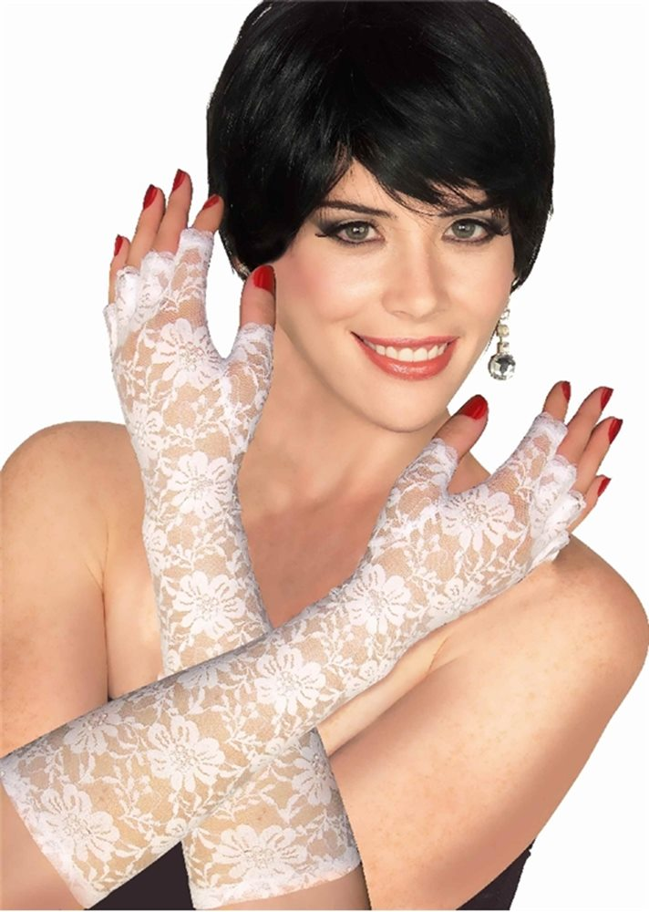 Picture of White Fingerless Lace Adult Gloves