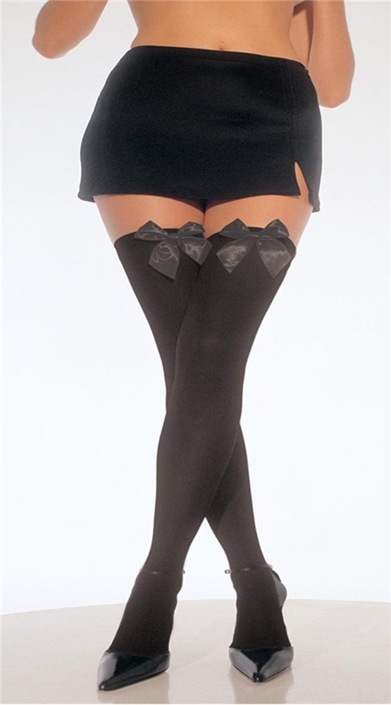 Picture of Black Thigh High Stockings with Black Bow Plus Size