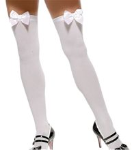 Picture of White Thigh Highs with White Bow Plus Size