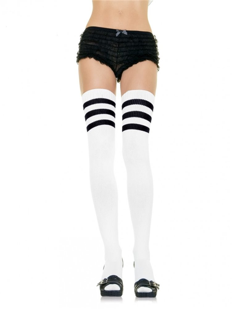 Picture of White Thigh High Socks with Black Stripes