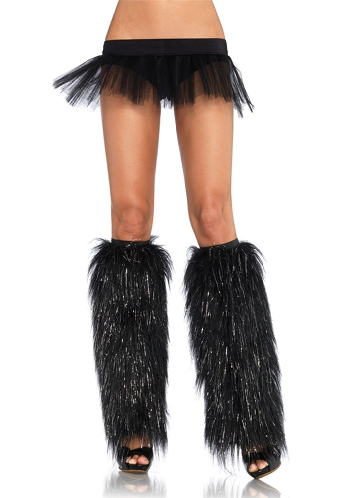 Picture of Black and Silver Furry Leg Warmers
