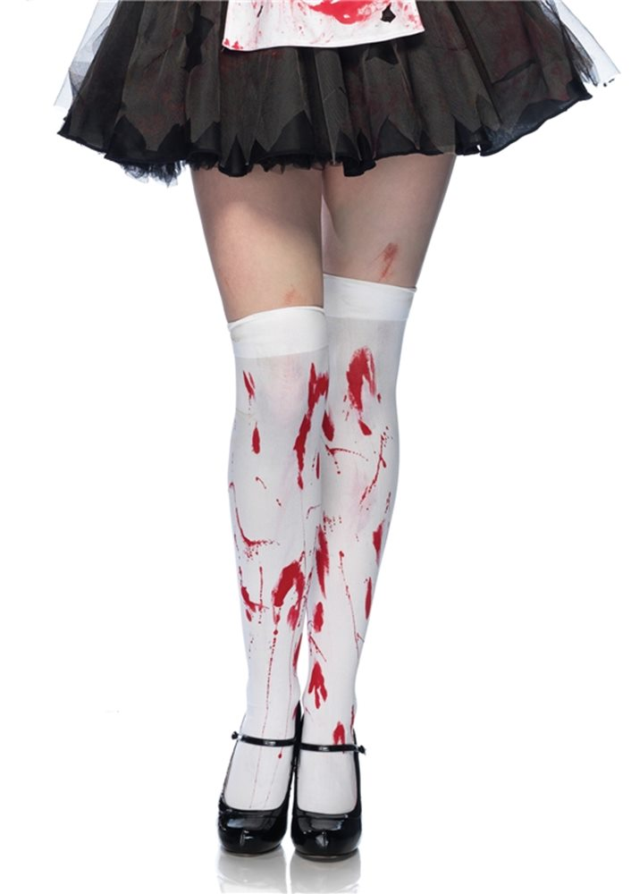 Picture of White Bloody Zombie Thigh Highs