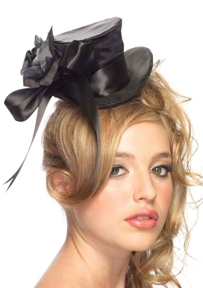 Picture of Black Satin Top Hat with Flower And Bow