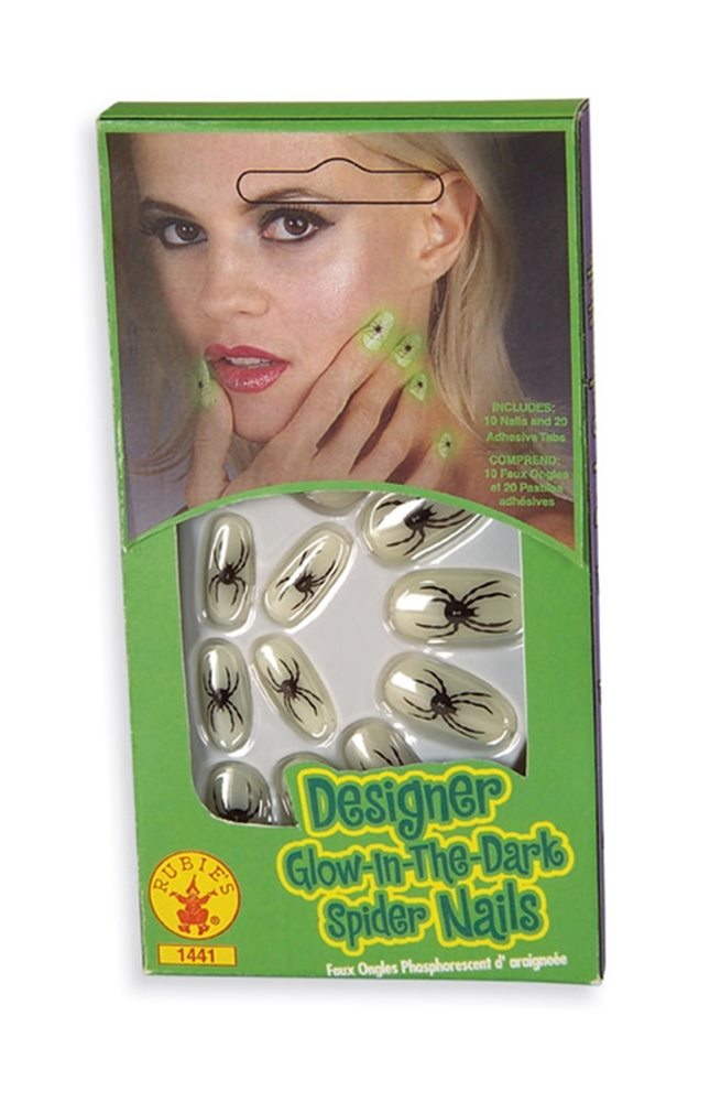 Picture of Deluxe Glow In The Dark Spider Print Nails