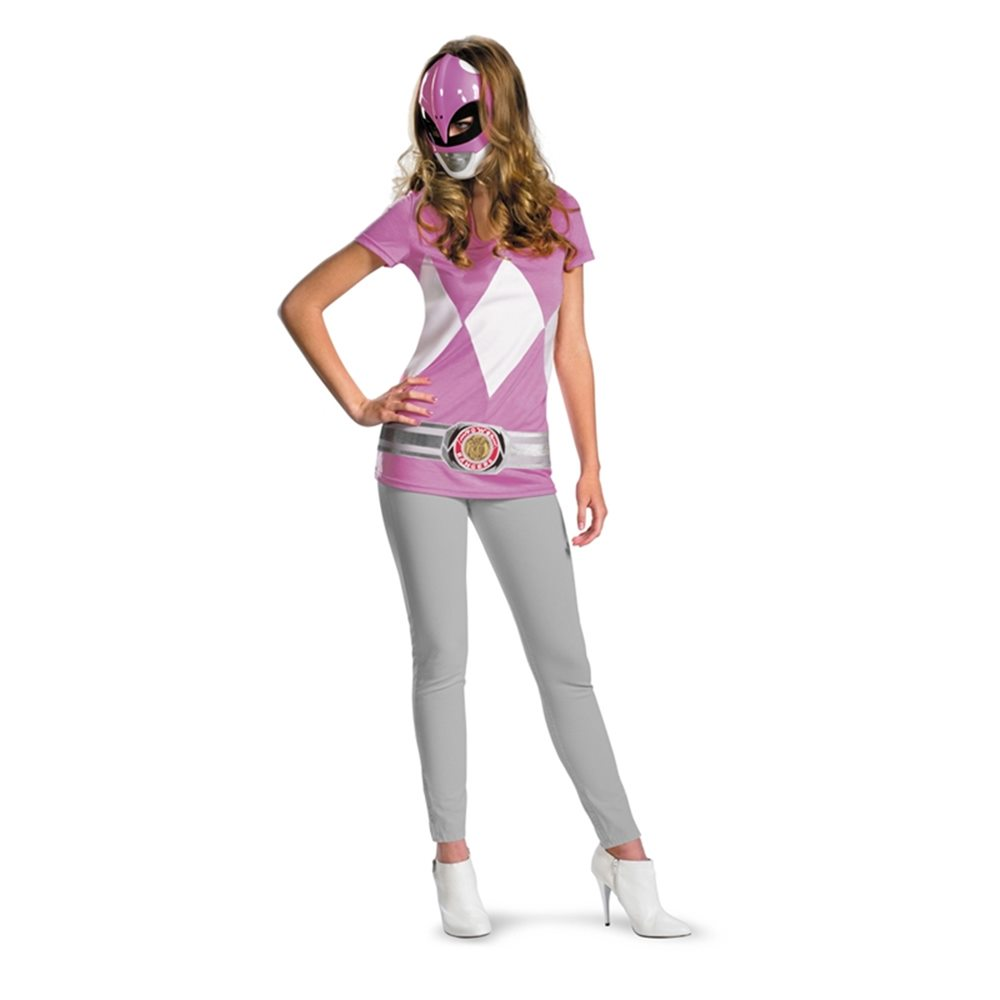 Picture of Pink Ranger T-Shirt with Mask Junior Costume