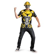 Picture of Transformers Bumblebee T-Shirt with Mask Plus Size Adult Mens Costume