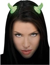 Picture of Glow In The Dark Glitter Green Devil Horns