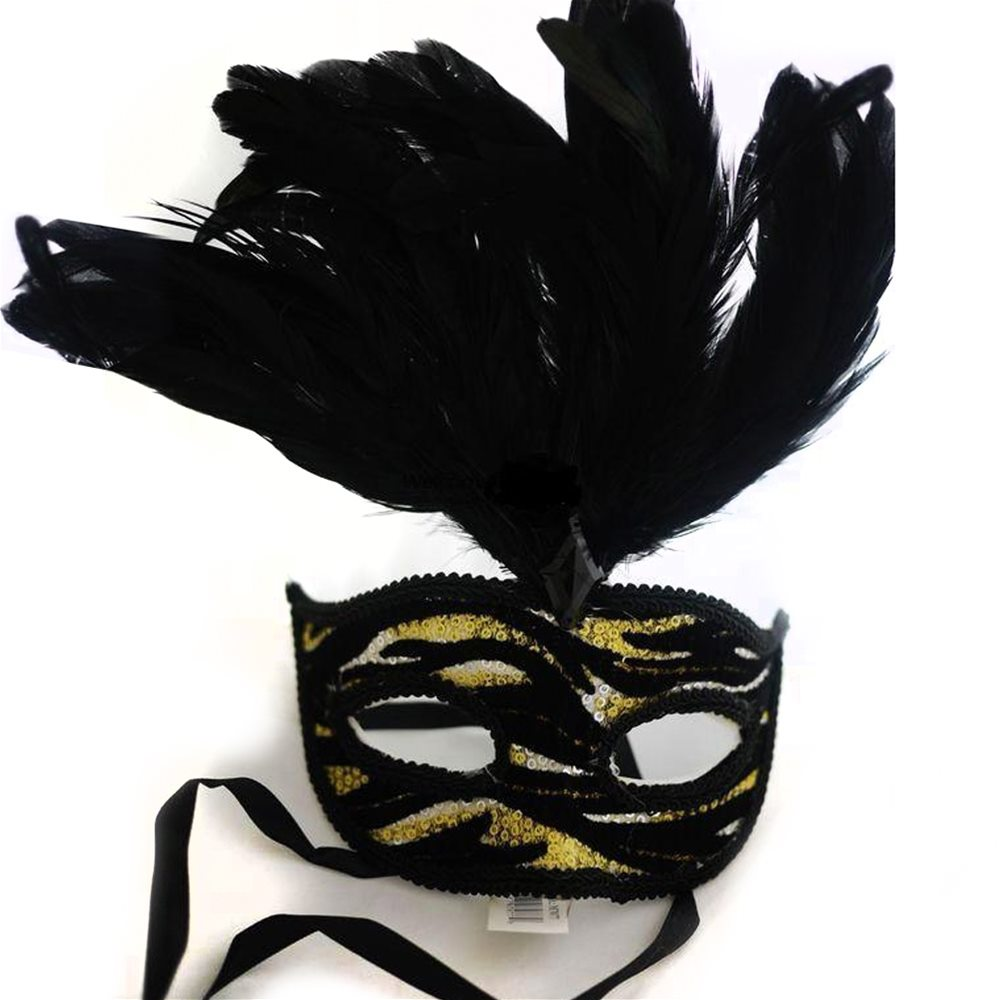 Picture of Venetian Animal Print Adult Mask with Feather