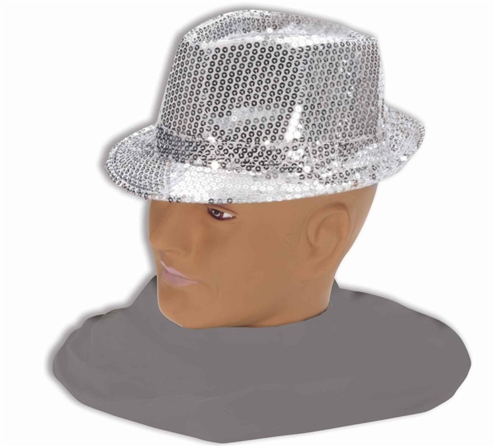 Picture of Silver Sequin Fedora Adult Hat