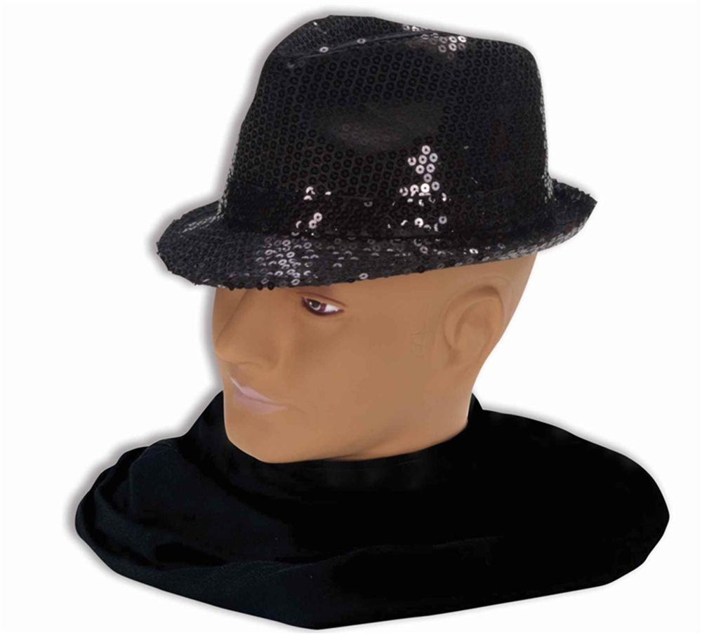 Picture of Black Sequin Fedora Adult Hat
