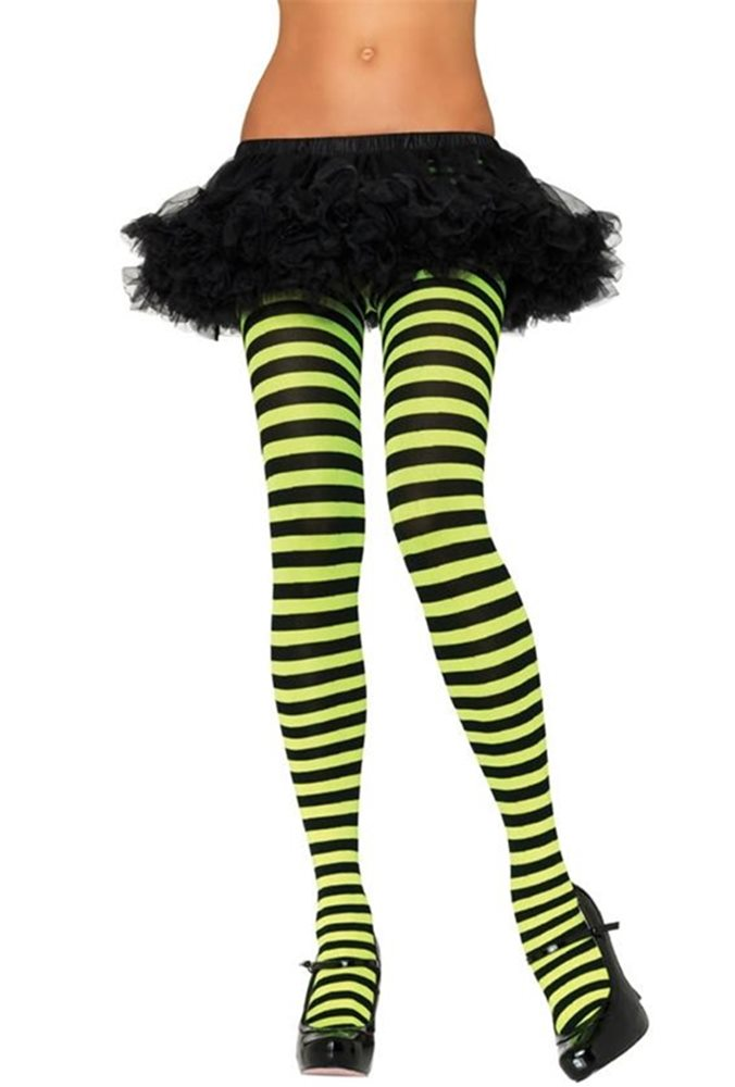 Picture of Black and Lime Striped Tights