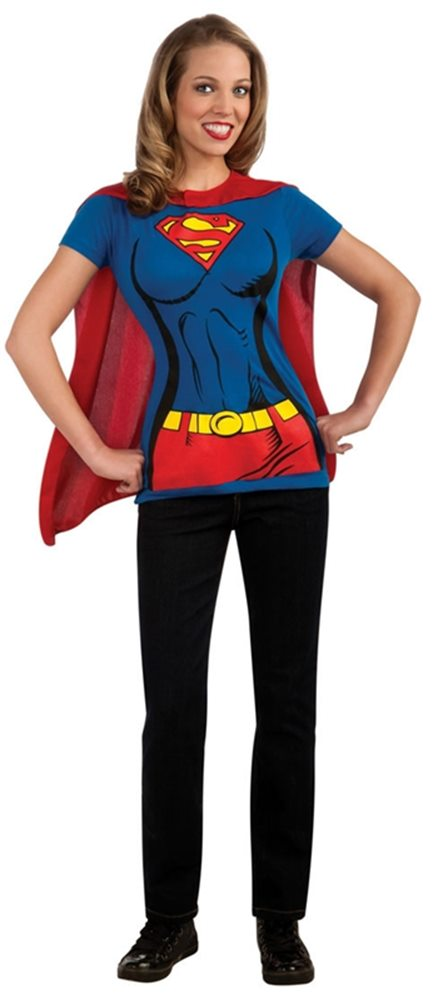 Picture of Supergirl T-Shirt With Cape Adult Costume