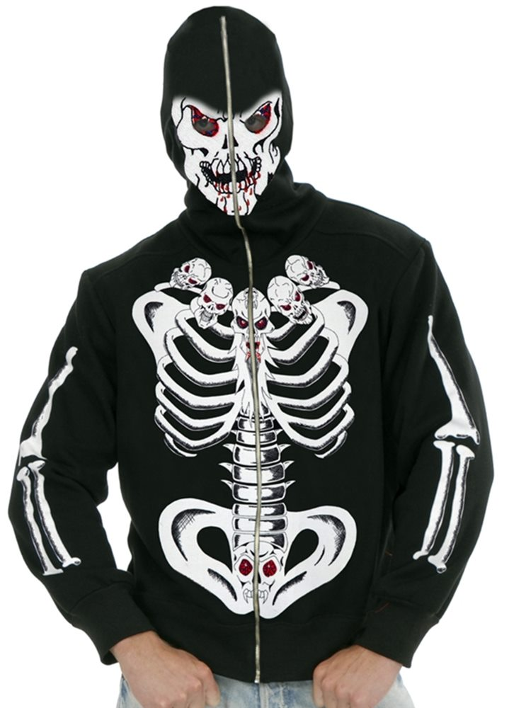 Picture of Six Pack Of Skulls Skeleton Adult Mens Hoodie
