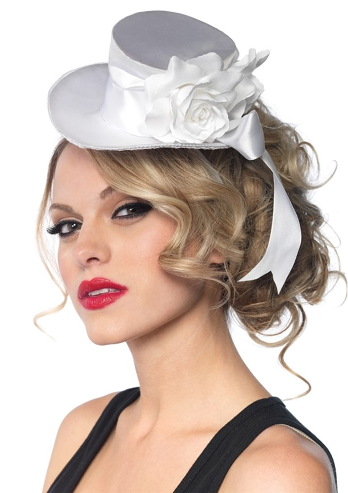 Picture of White Satin Top Hat with Flower And Bow