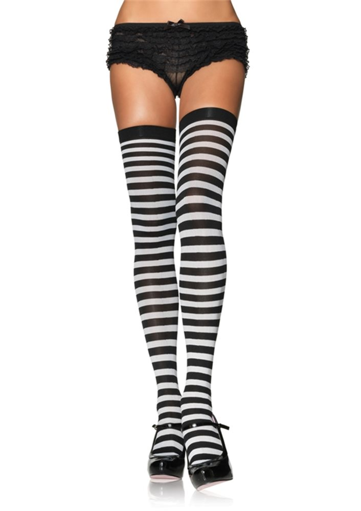 Picture of Black and White Striped Thigh High Tights
