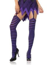 Picture of Black and Purple Striped Thigh High Tights