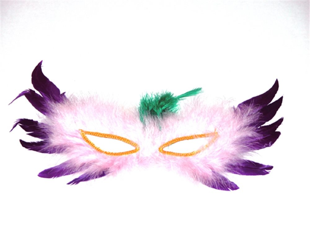 Picture of White and Purple Feather Mask