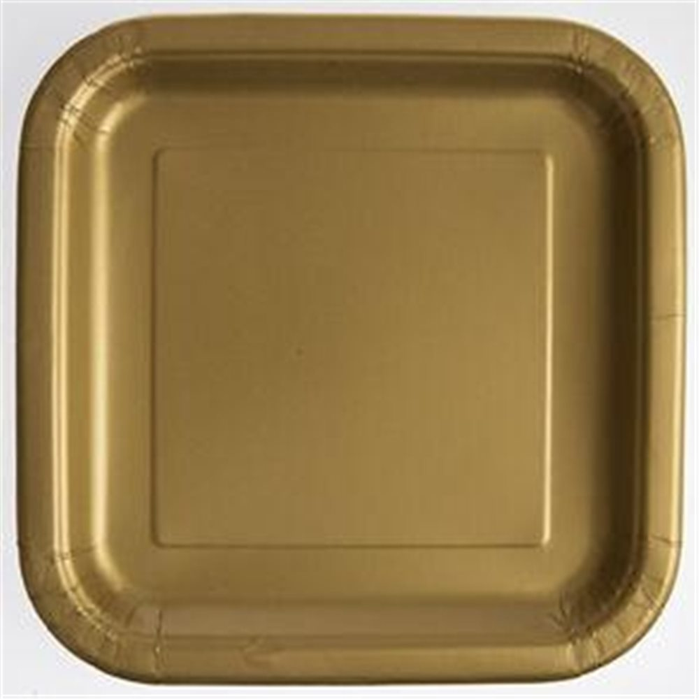 "Picture of 7"" Gold Shimmer Square Plates"