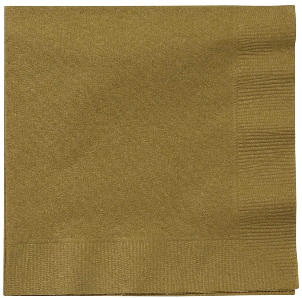 "Picture of 5"" Gold Beverage Napkins"