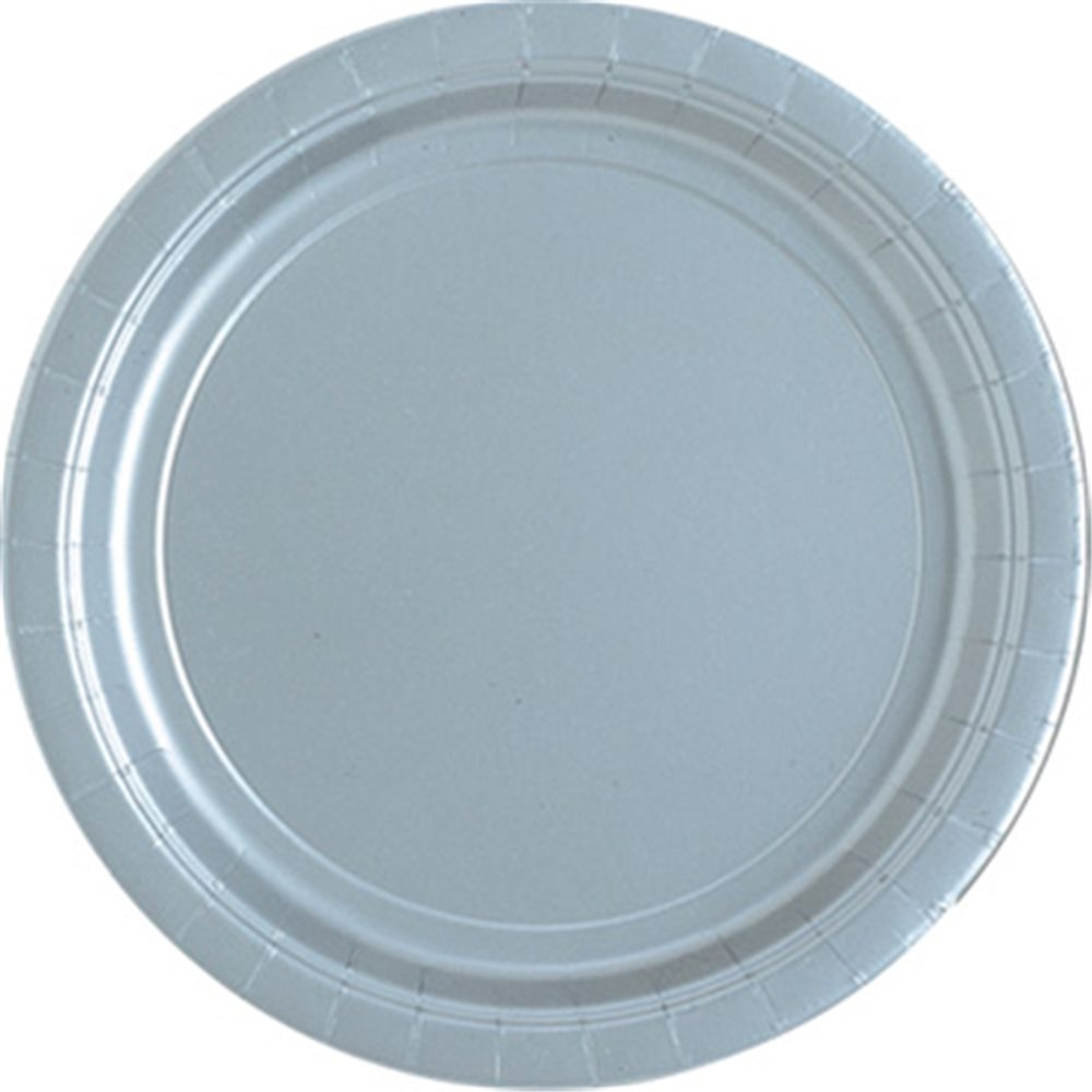 """Picture of 9"""" Silver Round Plates"""