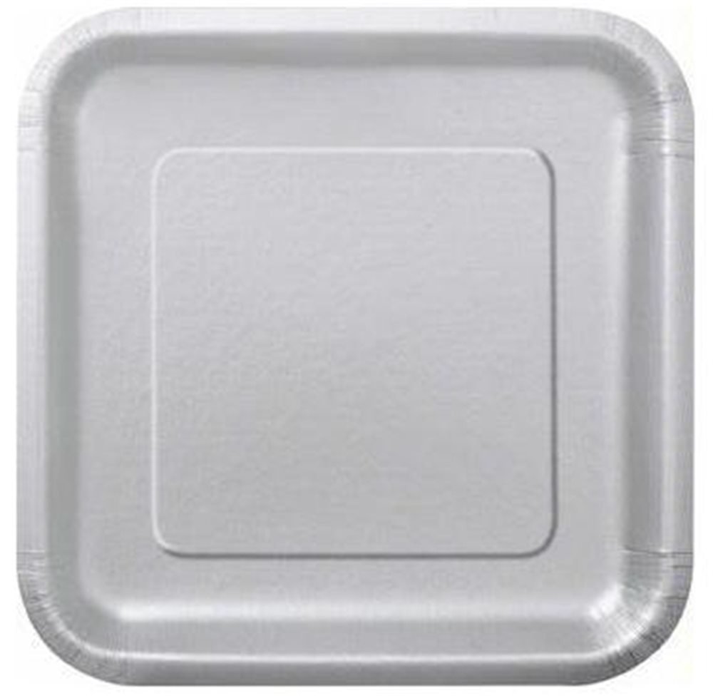 "Picture of 9"" Silver Square Plates"