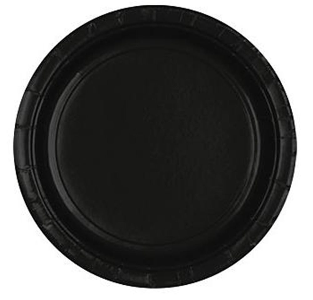"Picture of 9"" Black Round Plates"