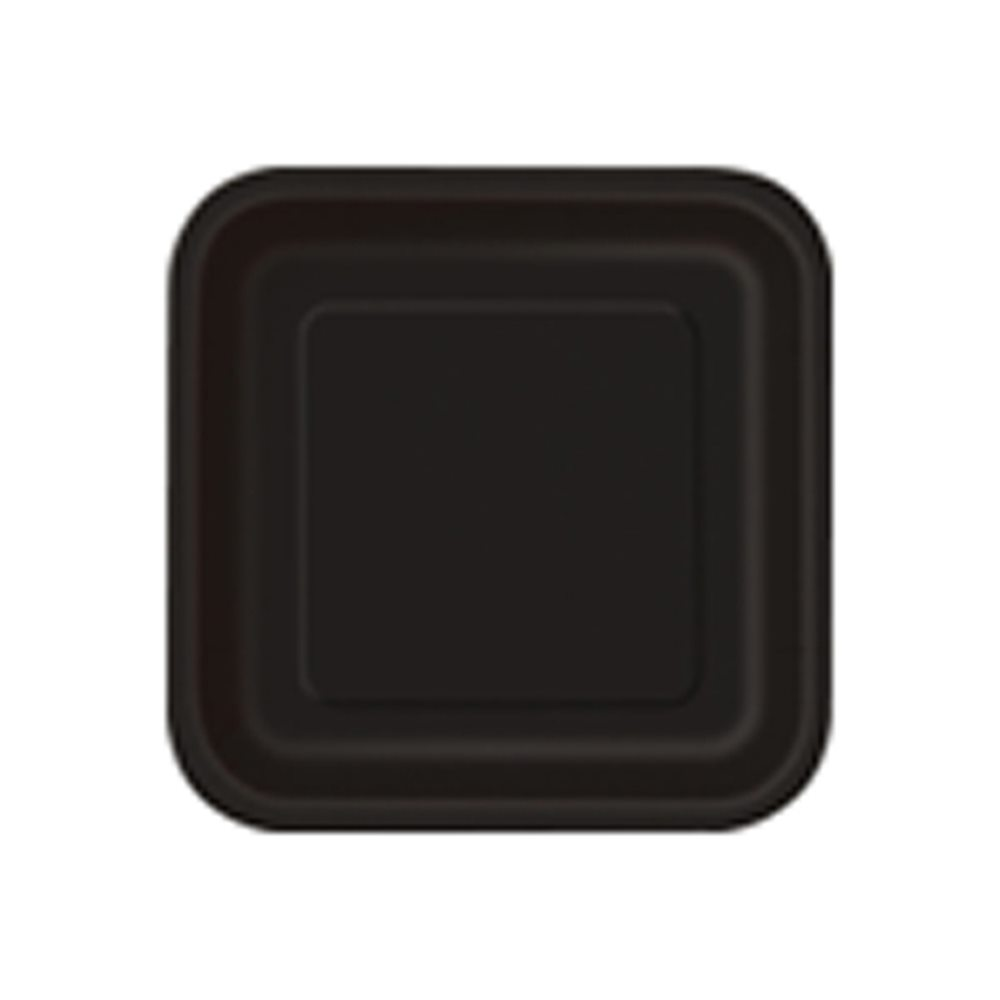 "Picture of 7"" Black Square Plates"