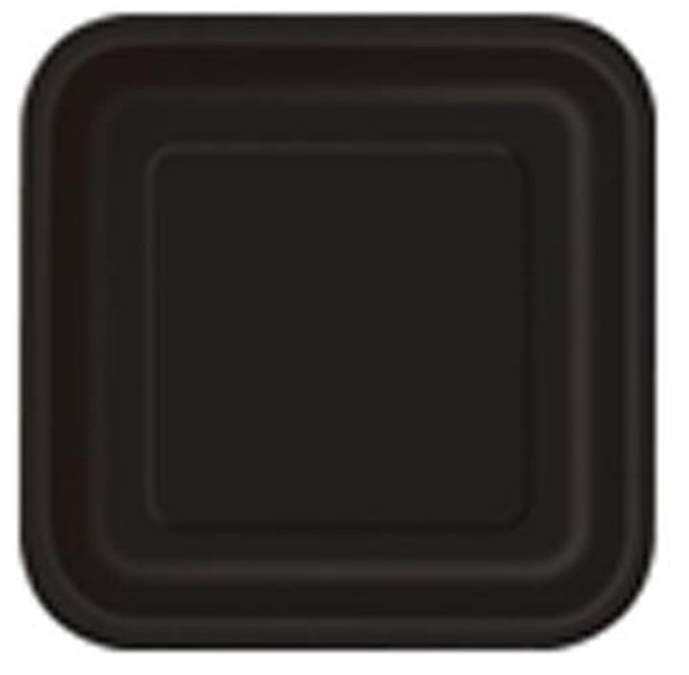 "Picture of 9"" Black Square Plates"