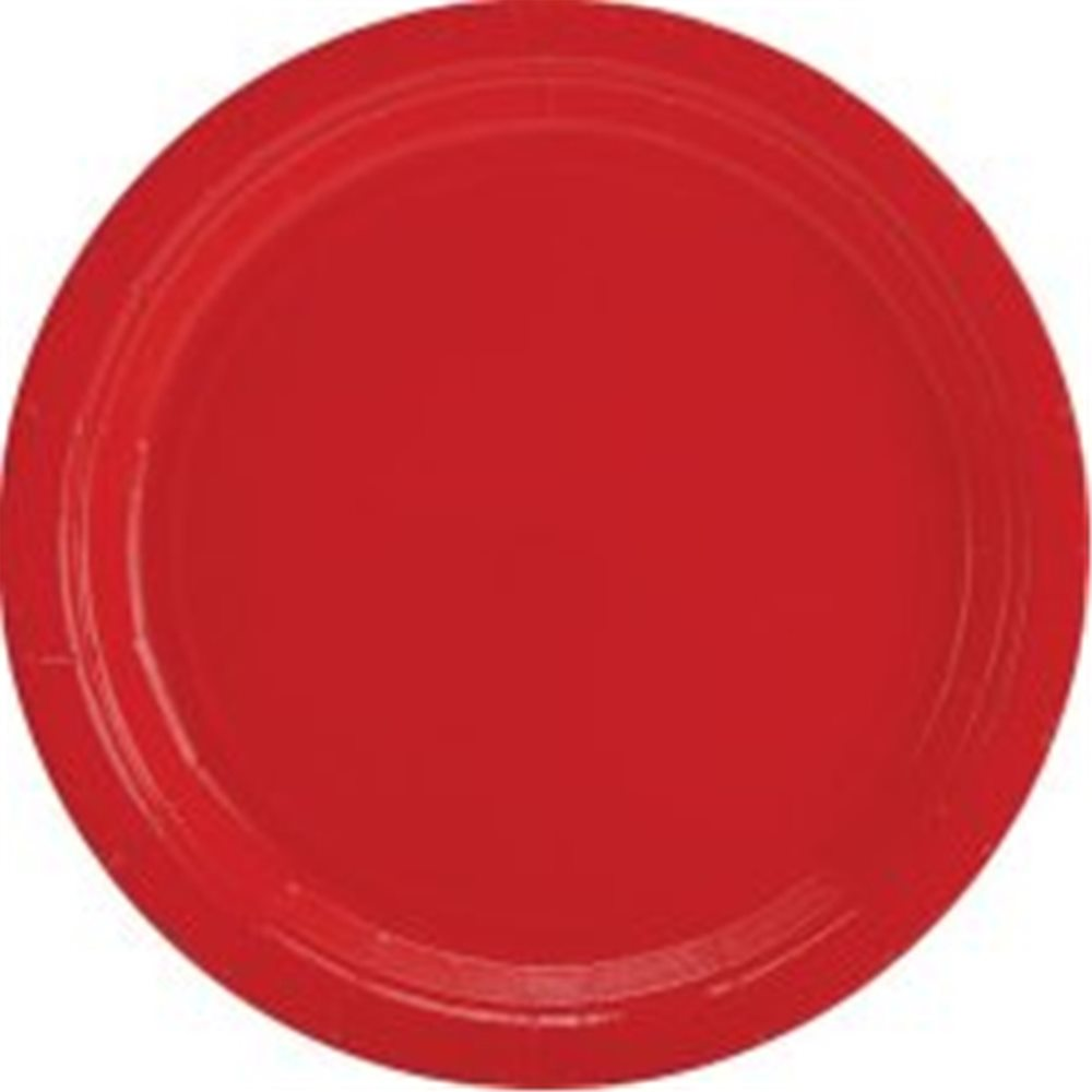 "Picture of 9"" Ruby Red Round Plates"